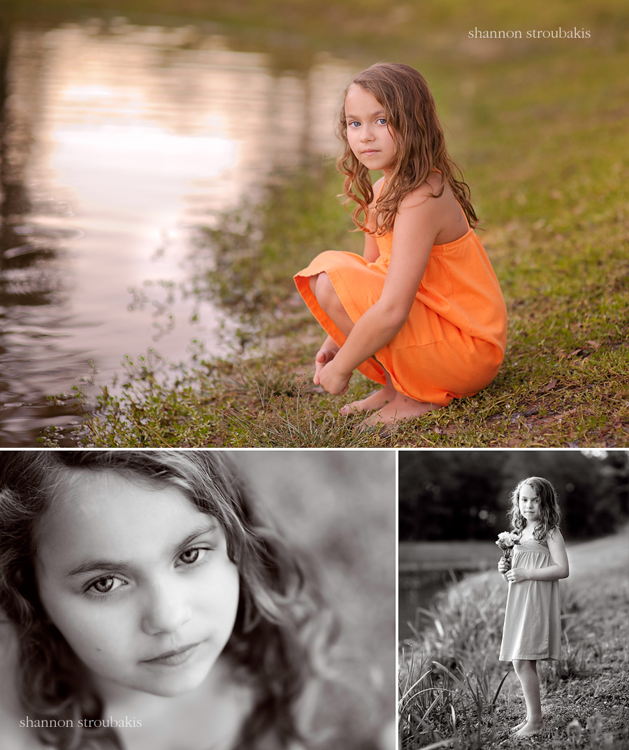 Outdoor colour pictures of a little girl in a sundress