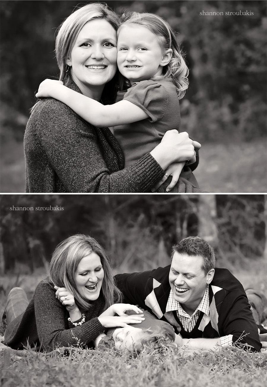 black and white images of a family session outdoors with mum and daughter and family together on the grass