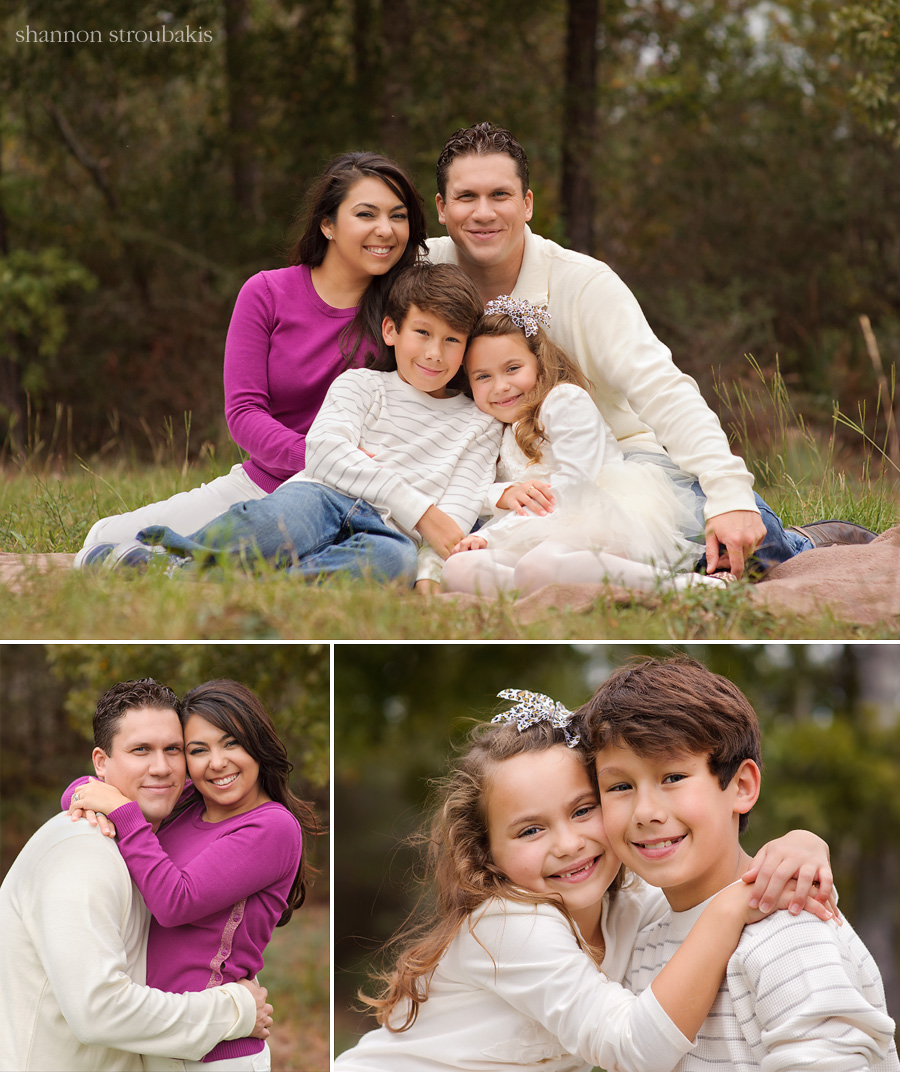 portraits of a family outside on location in the woodlands and spring tx on the grass