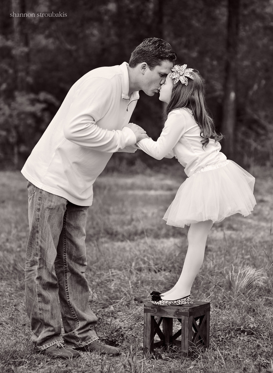 image of a father and daughter in black and white, girl in a tutu