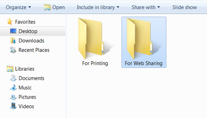 What the print size and web sharing size folders look like.