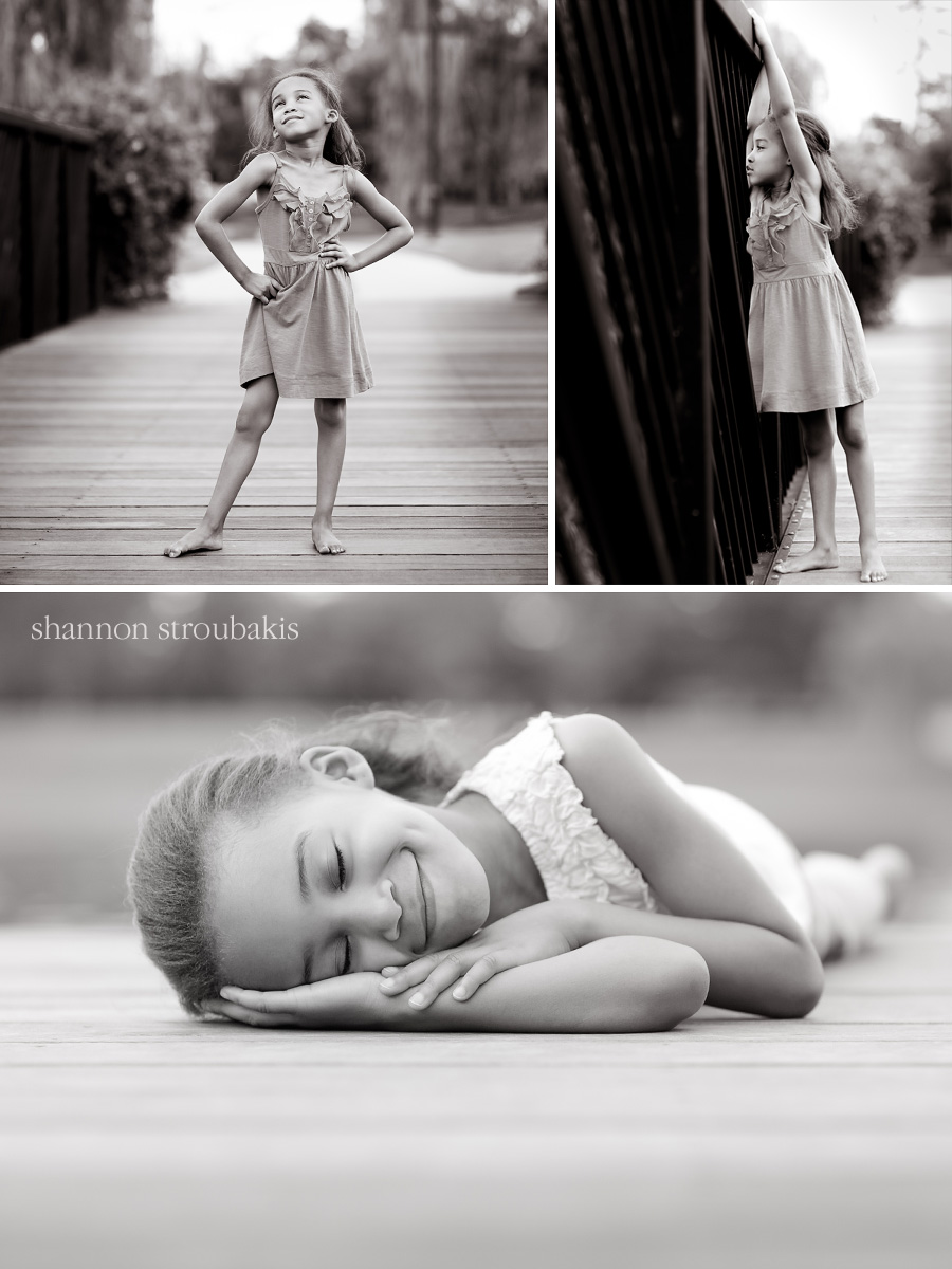 Black and white images of a young girl in a park for kindergarten graduation portraits