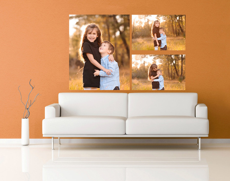 white sofa in a orange living room How to Display Your Portraits  Wall Prints The Woodlands Spring